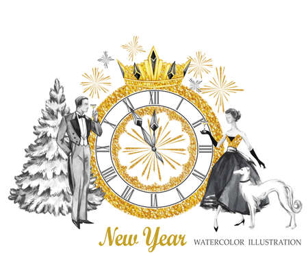 Watercolor retro illustration. Golden luxury style. Hand painted man and women with champagne, dog, tree, jewellery clock, diadem. New Year symbol. Ready for anniversary and holidays design.