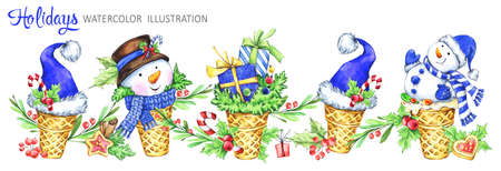 Watercolor horizontal garland. Waffle cone with snowman, Santa hats and gifts. Funny dessert. Cretive New Year. Christmas illustration. Can be use in winter holidays design, posters.