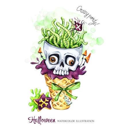 Watercolor illustration. Halloween holidays card. Hand painted waffle cone, skull with brains of worms. Funny ice cream dessert. Poisonous treat. Magic, symbol of horror. Ready for print. Stock Photo