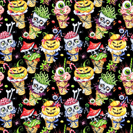 amanita: Watercolor seamless pattern, cartoon cones with skulls, pumpkins, eyes and amanitas. Halloween holiday illustration. Funny ice cream dessert. Poisonous treat. Magic, symbol of horror. Baby background.