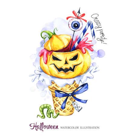 Ilustración acuarela Tarjeta de vacaciones de halloween. Cono de galleta pintado a mano, calabaza con sangre, ojo. Postre helado divertido. Tratamiento venenoso. La magia, símbolo del horror. Listo para imprimir.