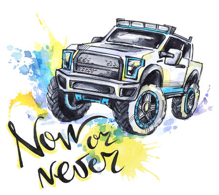 jeep: Hand drawn card with big car and lettering. Words Now or Never . Watercolor multicolor illustration. Active crazy sport. Transport. Perfect for blogs, lettering, pattern, invitation, t-shirt, print. Stock Photo