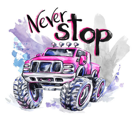 offroad car: Hand drawn card with big car and lettering. Words Never Stop . Watercolor multicolor illustration. Active crazy sport. Transport. Perfect for blogs, lettering, pattern, invitation, t-shirt, print.