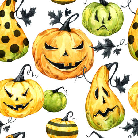 Watercolor seamless pattern, pumpkins with leafes. Halloween holiday illustration. Funny food. Magic, symbol of horror. Baby background. Can be use in holidays design, posters, invitations, cards Stock Photo
