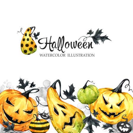 손으로 그려진 된 가로 배너 수채화 호박과 나뭇잎. 할로윈 휴가 그림. 재미 있은 음식. 마법, 공포의 상징입니다. 아기 배경입니다. 휴일 디자인, 포스