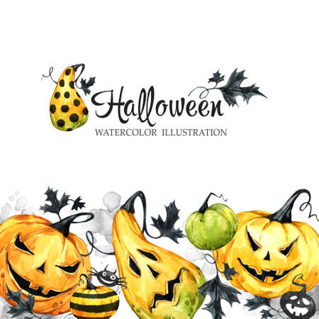 Hand drawn horizontal banner with watercolor pumpkins and leaves. Halloween holiday illustration. Funny food. Magic, symbol of horror. Baby background. Can be use in holidays design, posters.