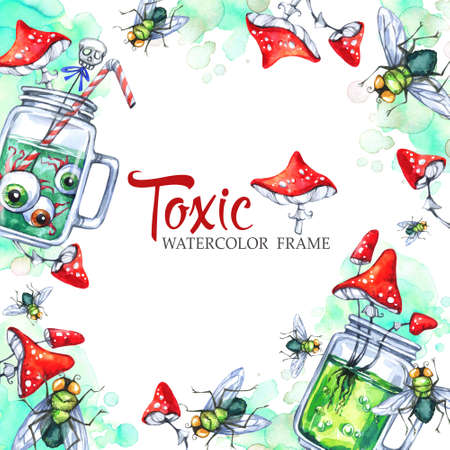 toxic substance: Hand drawn square frame with watercolor glass cups with potion, amanitas and flies. Halloween holiday illustration. Funny food and drink. Poisonous treat. Magic, symbol of horror. Stock Photo