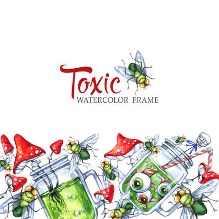 Hand drawn horizontal banner with watercolor glass cups with potion, amanitas and flies. Halloween holiday illustration. Funny food and drink. Poisonous treat. Magic, symbol of horror.
