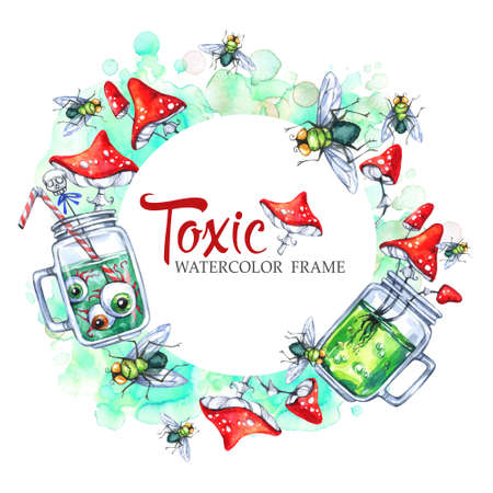 toxic substance: Hand drawn round frame with watercolor glass cups with potion, amanitas and flies. Halloween holiday illustration. Funny food and drink. Poisonous treat. Magic, symbol of horror. Stock Photo