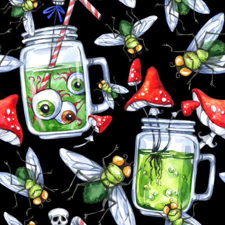 glass reflection: Watercolor seamless pattern, glass cups with potion, amanitas and flies. Halloween holiday illustration. Funny food and drink. Poisonous treat. Magic, symbol of horror. Can be use in design. Stock Photo