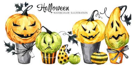 Waterverfgrens, reeks cakes met beeldverhaalpompoenen. Halloween vakantie illustratie. Grappig dessert. Magie, symbool van horror. Baby achtergrond. Kan worden gebruikt in feestdagen ontwerp, posters, uitnodigingen. Stockfoto