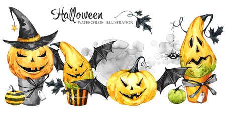 수채화 테두리, 만화 호박과 케이크의 집합입니다. 할로윈 휴가 그림. 재미 디저트. 마법, 공포의 상징입니다. 아기 배경입니다. 휴일 디자인, 포스터,