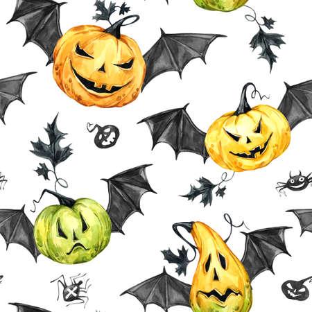 Watercolor Border, Pumpkin In The Hat With Bat Wings. Halloween ...