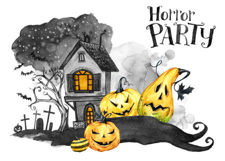 Watercolor landscape. Old house, cemetery and holidays pumpkins. Halloween holiday illustration. Magic, symbol of horror. Scary Night. Can be use in holidays design, posters, invitations, cards Stock Photo