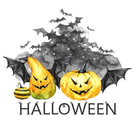 무서운 밤 수채화, 박쥐와 휴일 호박의 무리. 할로윈 휴가 그림. 마법, 공포의 상징입니다. 뱀파이어. 휴일 디자인, 포스터, 초대장, 카드에 사용할 수