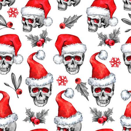 Waterverf naadloos patroon met schetsmatige schedels in kerstmuts, sneeuwvalken, bladeren. Kretief Nieuwjaar. Viering illustratie. Kan gebruikt worden in wintervakantie ontwerpen, posters, uitnodigingen, kaarten.