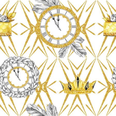 Watercolor seamless pattern in retro gold style. Jewellery diadem and clocks, fir branches, golden cake on white geometry. Vintage New Year illustration. Ready for anniversary and holidays design. Stock Photo