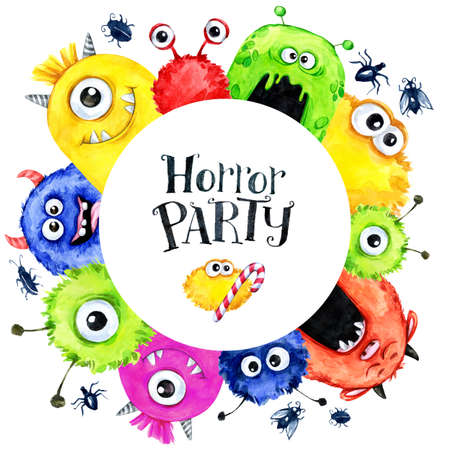 Hand drawn round frame with watercolor funny monster heads. Celebration illustration. Cartoon horror party. Funny beasts. Baby background. Can be use in holidays, birthday design, posters, cards.