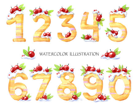 Watercolor illustration of numbers from zero to nine. Sweet tasty mathematical symbols. Bakery. Set of decorative cake with berries. Baby kit.