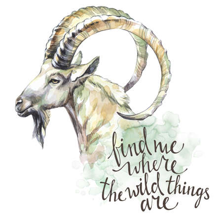 Watercolor goat with handwritten inspiration phrase. Mountain animal. Wildlife art illustration. Can be printed on T-shirts, bags, posters, invitations, cards, phone cases, pillows.
