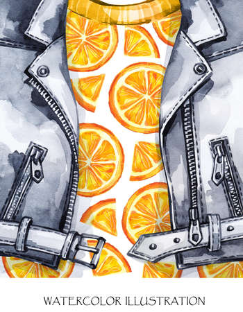 Watercolor illustration. Summer fruits card. Hand painted leather jacket with fresh orange. Healthy style. Ready for print, poster, fashion design, T-shirts, bags, invitations, cards pillows