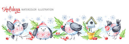 Watercolor horizontal garland. Funny birds, birdhouse, berries, leaves and snowflakes. Cretive New Year. Christmas illustration. Can be use in winter holidays design, posters, invitations.