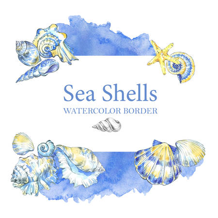 Hand painted seashells border. Watercolor decorative summer background. Original hand drawn illustration. Marine design. Tropical shell, starfish texture. Traveling. Stock Photo