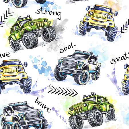Aquarel naadloze patroon Cartoon Monster Trucks. Kleurrijke extreme sporten achtergrond. 4x4. Voertuig SUV off-road. Lifestyle. Bemant hobby. Cars. Vervoer.