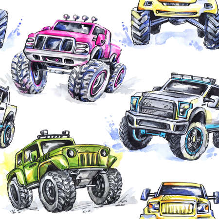 Watercolor seamless pattern Cartoon Monster Trucks. Colorful Extreme Sports background. 4x4. Vehicle SUV Off Road. Lifestyle. Mans hobby. Cars. Transport.