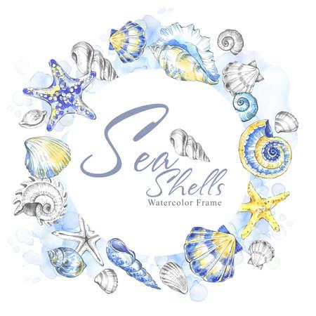 Hand painted seashells circle frame. Watercolor decorative summer background. Original hand drawn illustration. Marine template design. Tropical shells, starfishes texture. Traveling card. 免版税图像