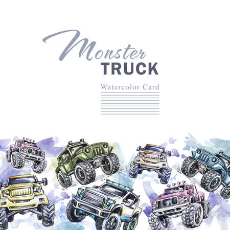 Watercolor cars horizontal border. Cartoon Monster Trucks frame. Colorful Extreme Sports background. 4x4. Off Road. Lifestyle. Mans hobby. Adventures card. Transport template design.