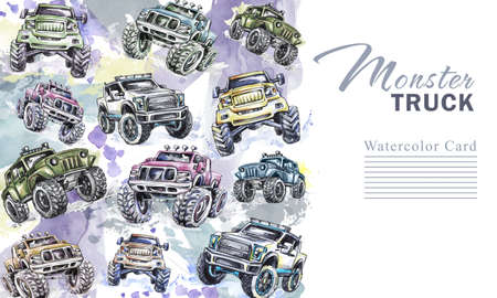 Watercolor cars vertical border. Cartoon Monster Trucks frame. Colorful Extreme Sports background. 4x4. Off Road. Lifestyle. Mans hobby. Adventures card. Transport template design.