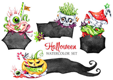 Watercolor Frames Set Poisonous Desserts Halloween Holiday Stock