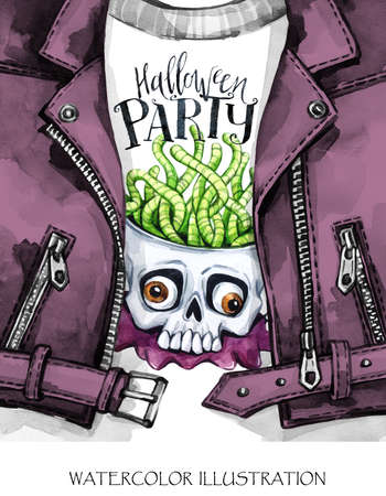 Watercolor fun illustration. Halloween day card. Hand painted leather jacket with print. Skull with brains of worms. Rock style girl. Ready for print, poster, design, greeting, invitation cards.