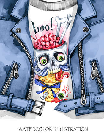 Watercolor fun illustration. Halloween day card. Hand painted leather jacket with print. Waffle cone and skull with brains. Rock style girl. Ready for print, poster, design, greeting, invitation cards.