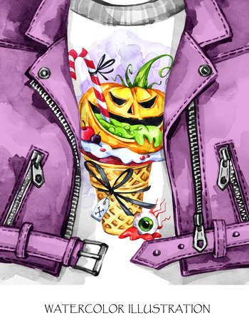 Watercolor fun illustration. Halloween card. Hand painted leather jacket with print. Waffle cone, pumpkin with poisonous stuffing. Rock style girl. Ready for print, poster, greeting, invitation cards.