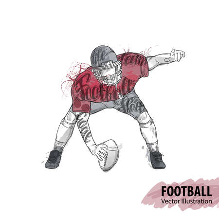 Hand sketch of American football player Stock Vector - 85361782