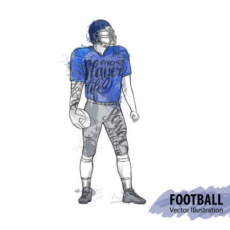Hand sketch football player