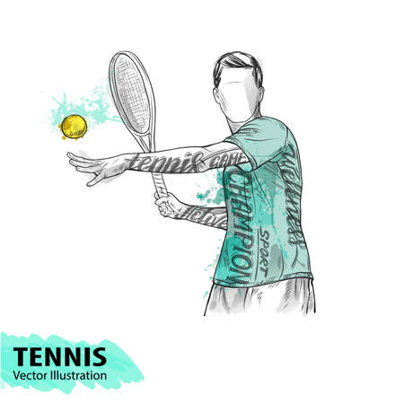 Hand sketch of American tennis player. Vector sport illustration. Watercolor silhouette of the athlete with thematic words. Text graphics, lettering. Active people. Recreation lifestyle. Man. Illustration