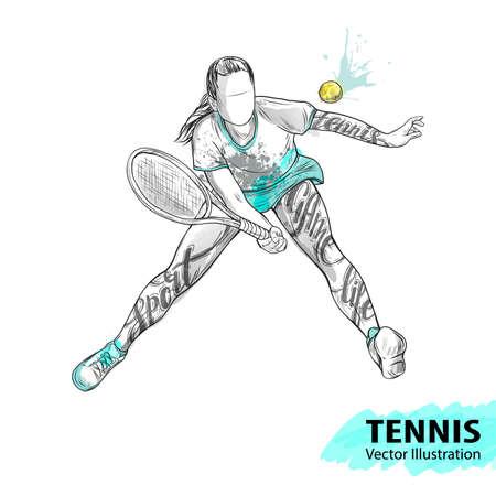 Handschets van Amerikaanse tennisspeler. Vector sport illustratie. Waterverfsilhouet van de atleet met thematische woorden. Tekstafbeeldingen, belettering. Actieve mensen. Recreatie levensstijl. Vrouw.
