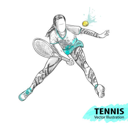 Hand sketch of American tennis player. Vector sport illustration. Watercolor silhouette of the athlete with thematic words. Text graphics, lettering. Active people. Recreation lifestyle. Women.