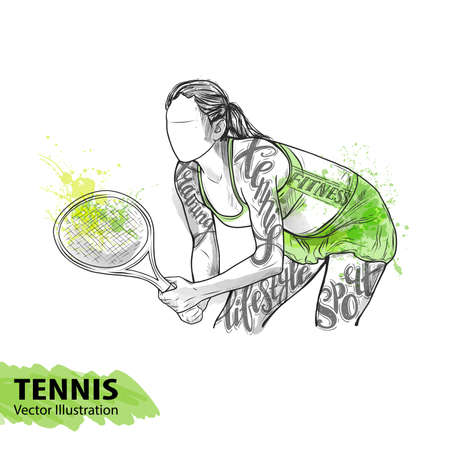 Hand sketch of American tennis player. Vector sport illustration. Watercolor silhouette of the athlete with thematic words. Text graphics, lettering. Active people. Recreation lifestyle. Women. Vektorové ilustrace