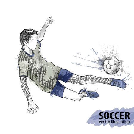 Hand sketch of soccer player with ball. Vector sport illustration. Watercolor silhouette of the athlete with thematic words. Text graphics, lettering. Active people. Recreation lifestyle. Man. Illustration