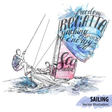 海の航行ボートの人々 の手のスケッチ。ベクトル スポーツ イラスト。テーマ別の単語とヨットの水彩のシルエット。テキスト グラフィック、レタリングします。アクティブな人。極端なライフ スタイル。旅行。