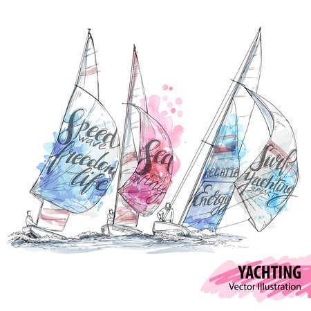Hand sketch of sailing yachts regatta. Races in the sea. Vector sport illustration. Watercolor silhouette of yacht with thematic words. Text graphics, lettering. Active people. Extreme. Traveling. Ilustracja