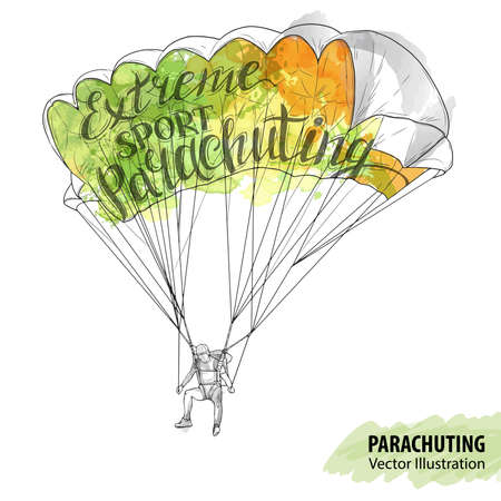 Hand sketch of parachuting athlete. Vector sport illustration. Watercolor silhouette of the man with thematic words. Text graphics, lettering. Active people. Extreme lifestyle. Illustration
