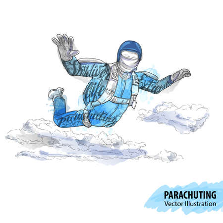 Hand sketch of skydiving athlete in the clouds. Vector sport illustration. Watercolor silhouette of the man with thematic words. Text graphics, lettering. Active people. Extreme lifestyle.