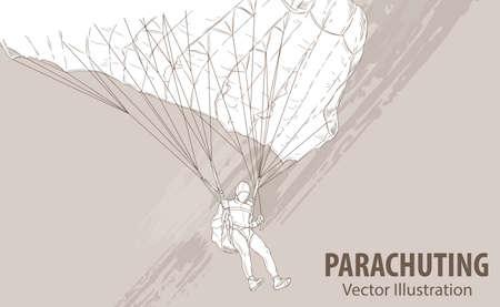 Hand sketch of parachuting athlete. Vector sport illustration. Graphic silhouette of the man with a parachute on background design. Active people. Extreme lifestyle.
