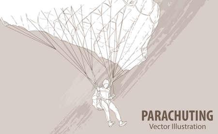 mano boceto de la ilustración vectorial de los deportes de los deportes . ilustración gráfica del hombre con un paracaídas en el fondo del diseño . foto de deporte. estilo extremo extremo