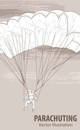 Hand sketch of parachuting athlete